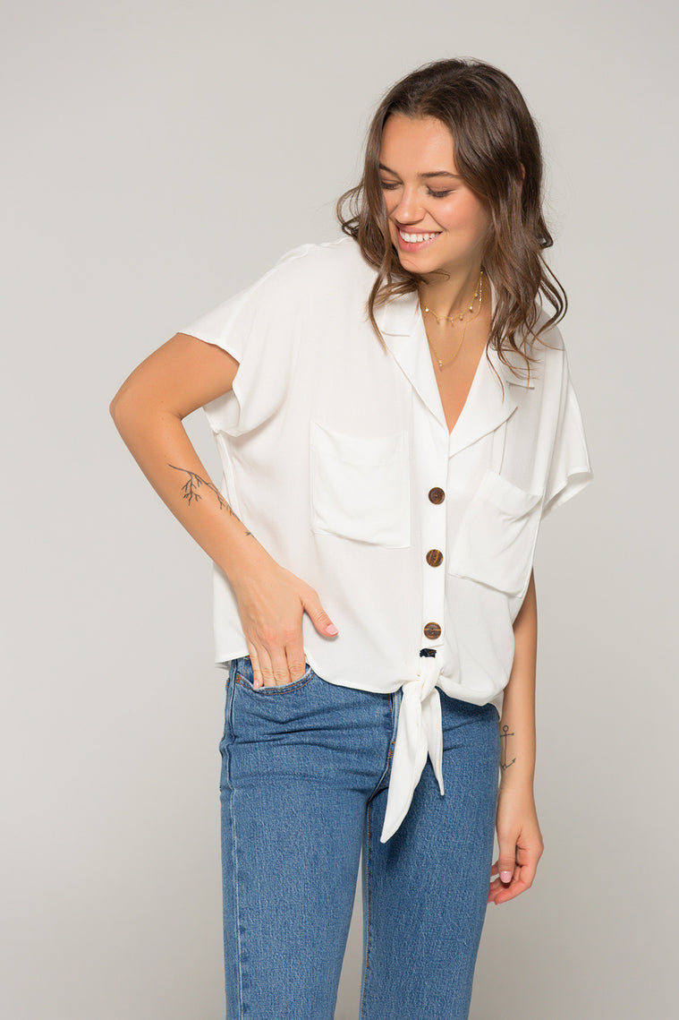 Kristin Tie Front White Top Detail