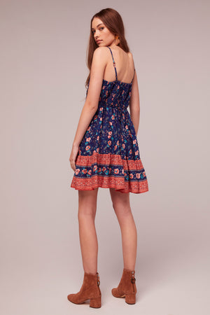 Kyanite Border Print Mini Dress Back