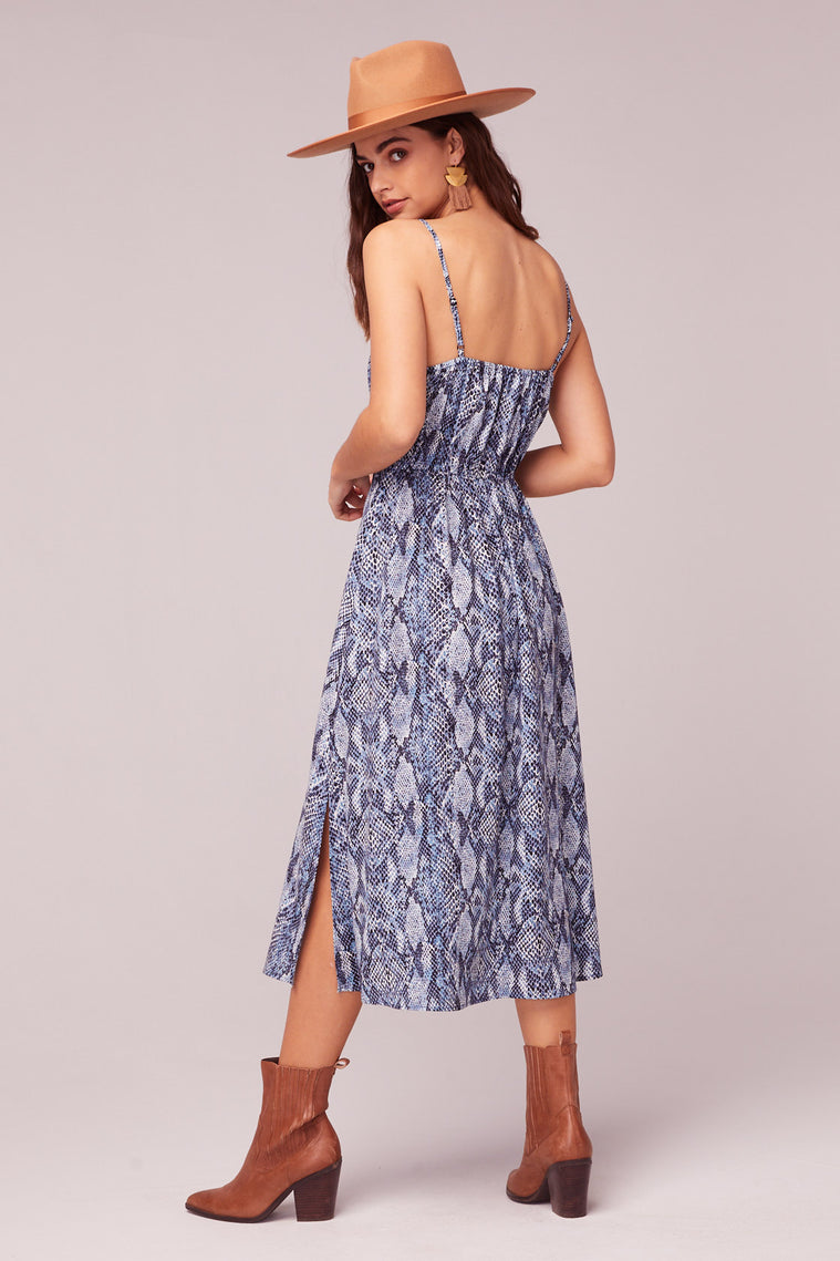 LA. Women Blue Snake Print Midi Dress Back Detail