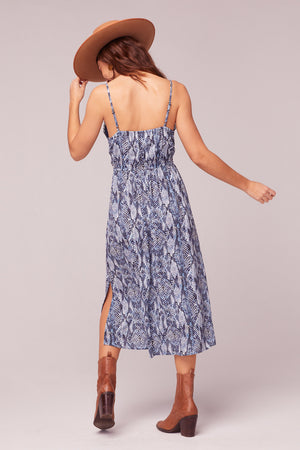 LA. Women Blue Snake Print Midi Dress Back2