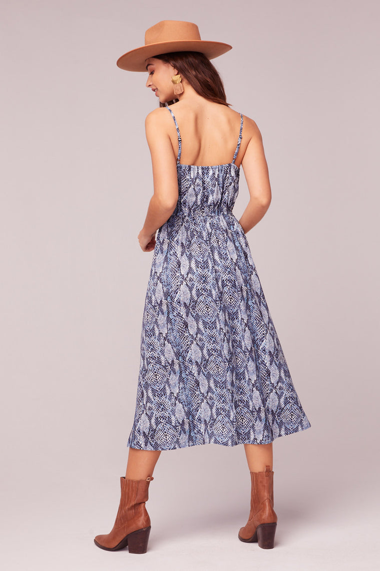 LA. Women Blue Snake Print Midi Dress Back