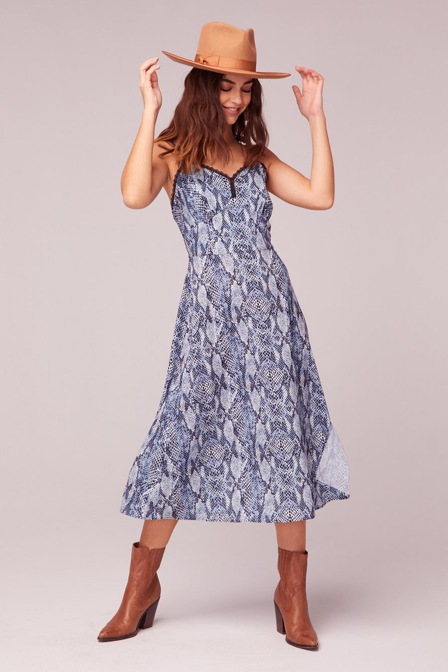 LA. Women Blue Snake Print Midi Dress