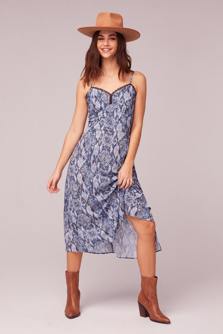 LA. Women Blue Snake Print Midi Dress Front