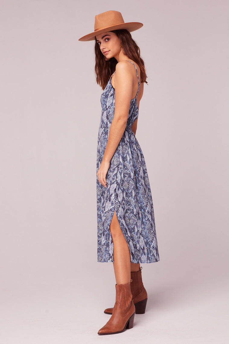 LA. Women Blue Snake Print Midi Dress Side Detail