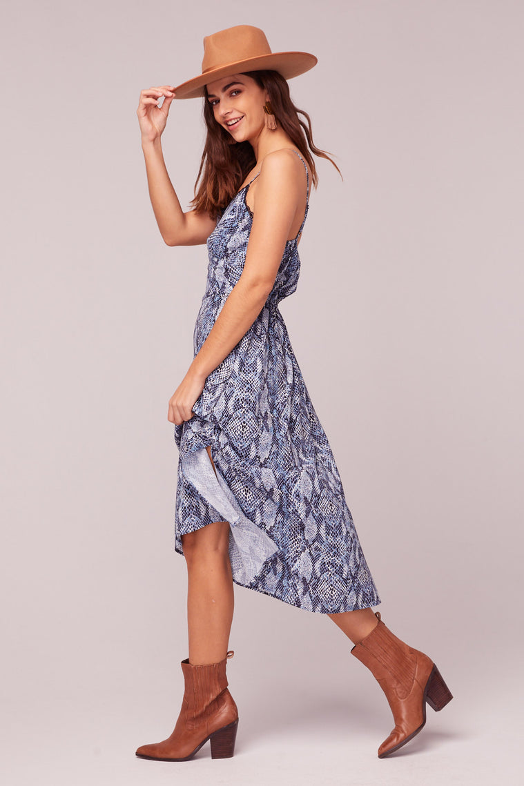 LA. Women Blue Snake Print Midi Dress Side