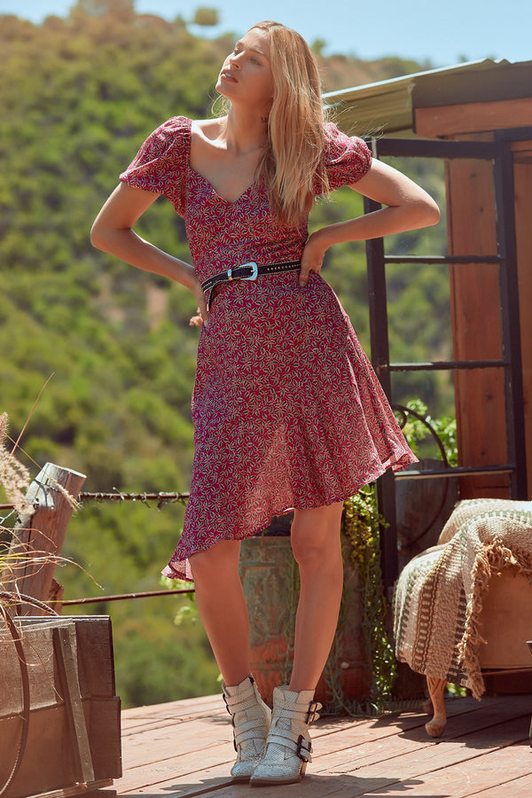Lake Como Floral Asymmetrical Hem Dress Lifestyle