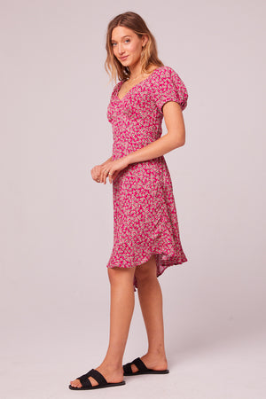 Lake Como Floral Asymmetrical Hem Dress Side