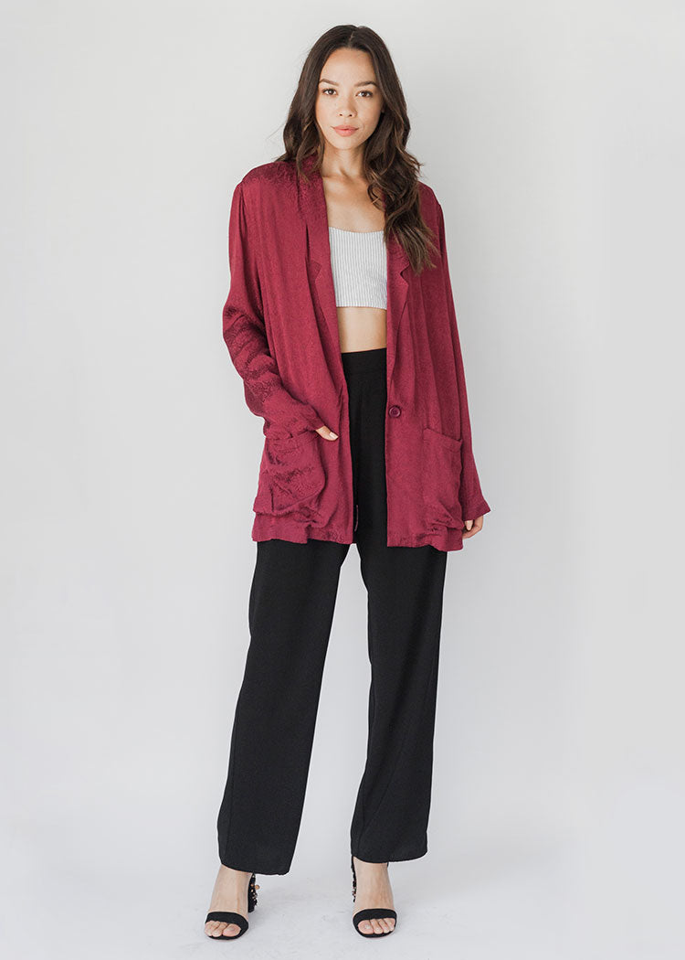 Lane Burgundy Boyfriend Jacket