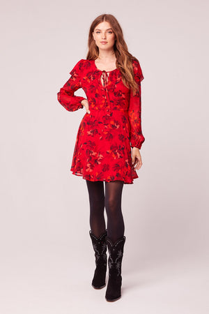 Le Flirteur Red Floral Print Mini Dress