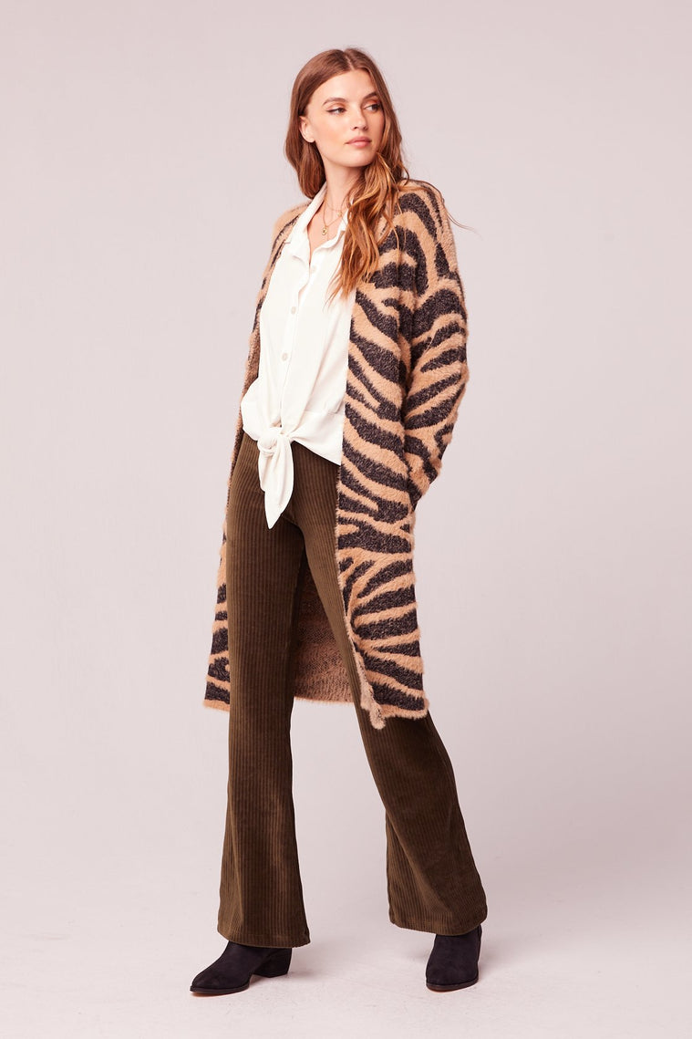Les Animaux Animal Print Oversized Cardigan Sweater