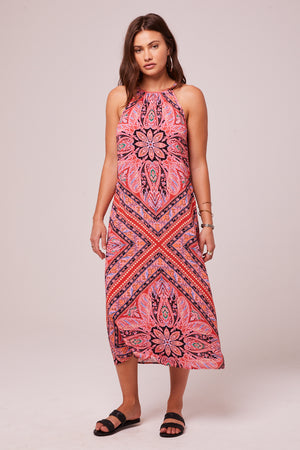 Lilla Coral Halter Midi Dress Front