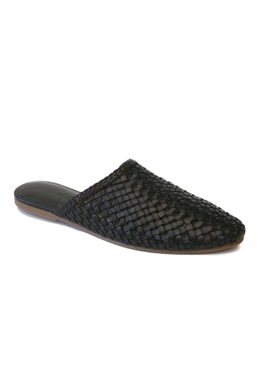 Litha Black Leather Woven Mule Master