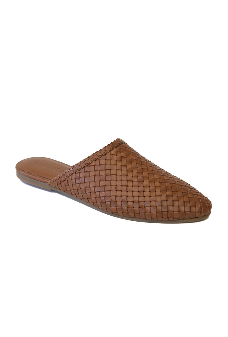 Litha Toffee Leather Woven Mule Master