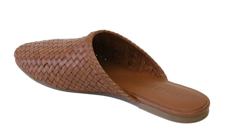 Litha Toffee Leather Woven Mule Back