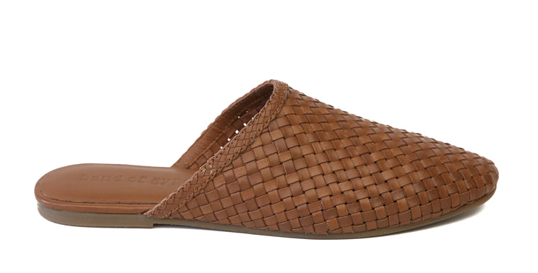Litha Toffee Leather Woven Mule Side
