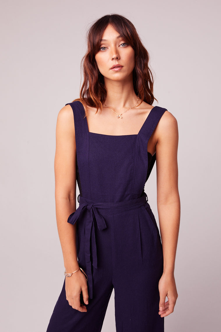 Lolita Navy Belted Linen Jumpsuit Close