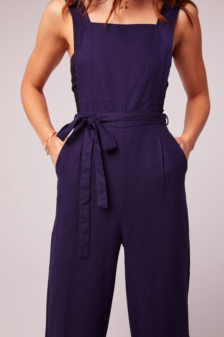 Lolita Navy Belted Linen Jumpsuit Detail