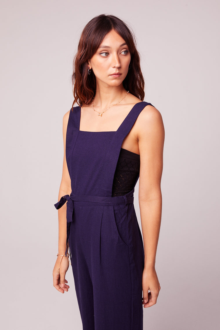 Lolita Navy Belted Linen Jumpsuit Side Detail