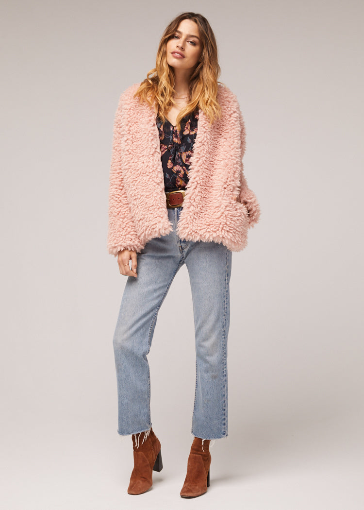 London Dusty Pink Poodle Jacket