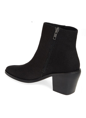 Loveland Black Woven Jute Canvas Bootie Back
