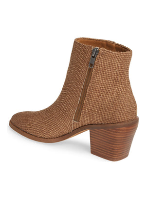 Loveland Brown Woven Jute Canvas Bootie Back