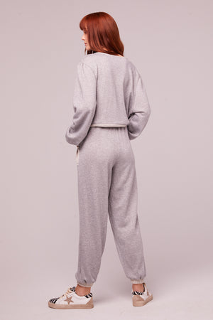 Loy Heather Gray Shimmer Joggers Back