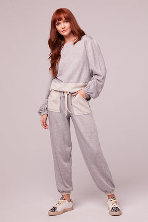 Loy Heather Gray Shimmer Joggers Detail