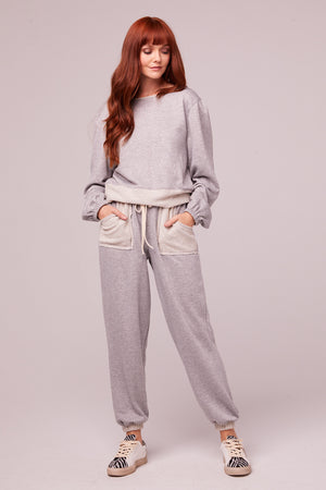Loy Heather Gray Shimmer Joggers Front