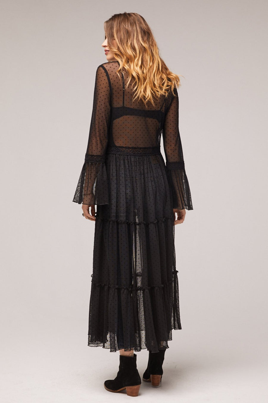 Lucia Black Ruffled Sheer Duster Master