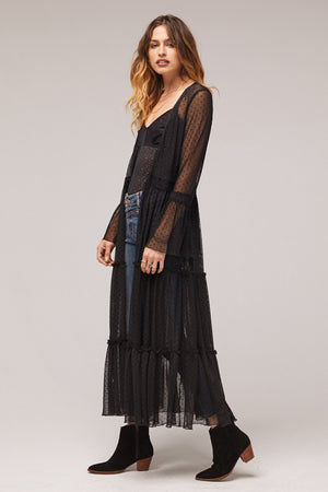 Lucia Black Ruffled Sheer Duster Side