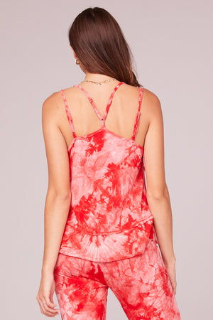 Lucie Red Tie Dye Double Strap Tank Top Back