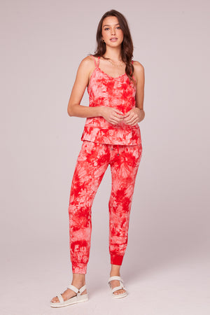 Lucie Red Tie Dye Double Strap Tank Top Detail