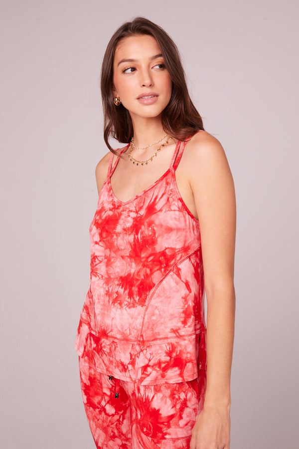 Lucie Red Tie Dye Double Strap Tank Top Master