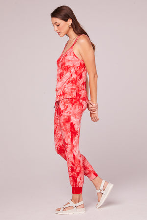 Lucie Red Tie Dye Double Strap Tank Top Side