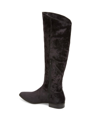 Luna Black Sueded Velvet Knee High Boot Back