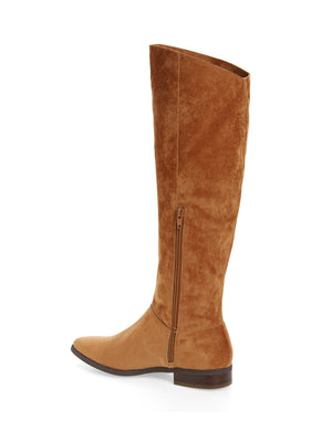 Luna Tan Sueded Velvet Knee High Boot Back