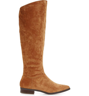 Luna Tan Sueded Velvet Knee High Boot
