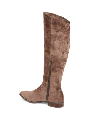 Luna Taupe Sueded Velvet Knee High Boot Back