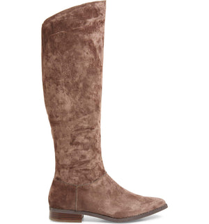 Luna Taupe Sueded Velvet Knee High Boot