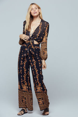 Luxor Black Border Print Wide Leg Pant