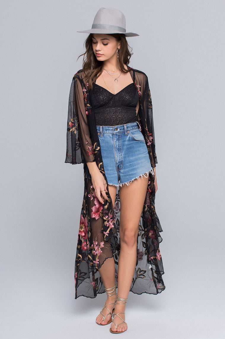 Emily Sunset Floral Embroidery Sheer Duster Detail