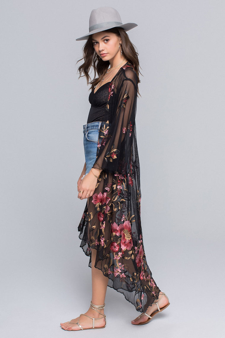 Emily Sunset Floral Embroidery Sheer Duster Side