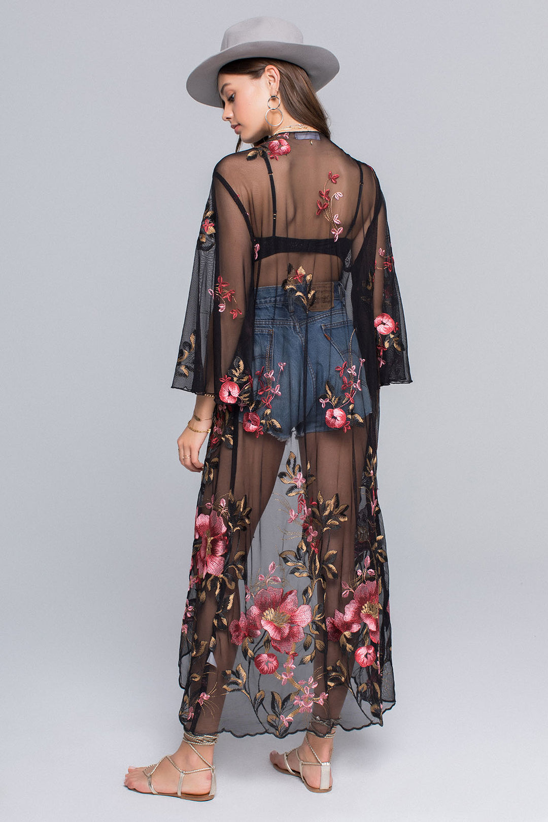Emily Sunset Floral Embroidery Sheer Duster Master