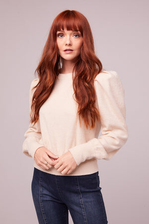 Maclaine Champagne Puff Sleeve Sweater Detail