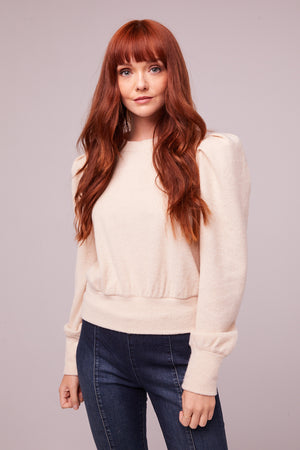 Maclaine Champagne Puff Sleeve Sweater Master