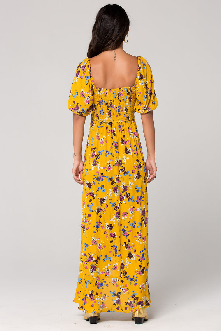 Madrid Mustard Floral Printed Smocked Maxi Dress Back Detail