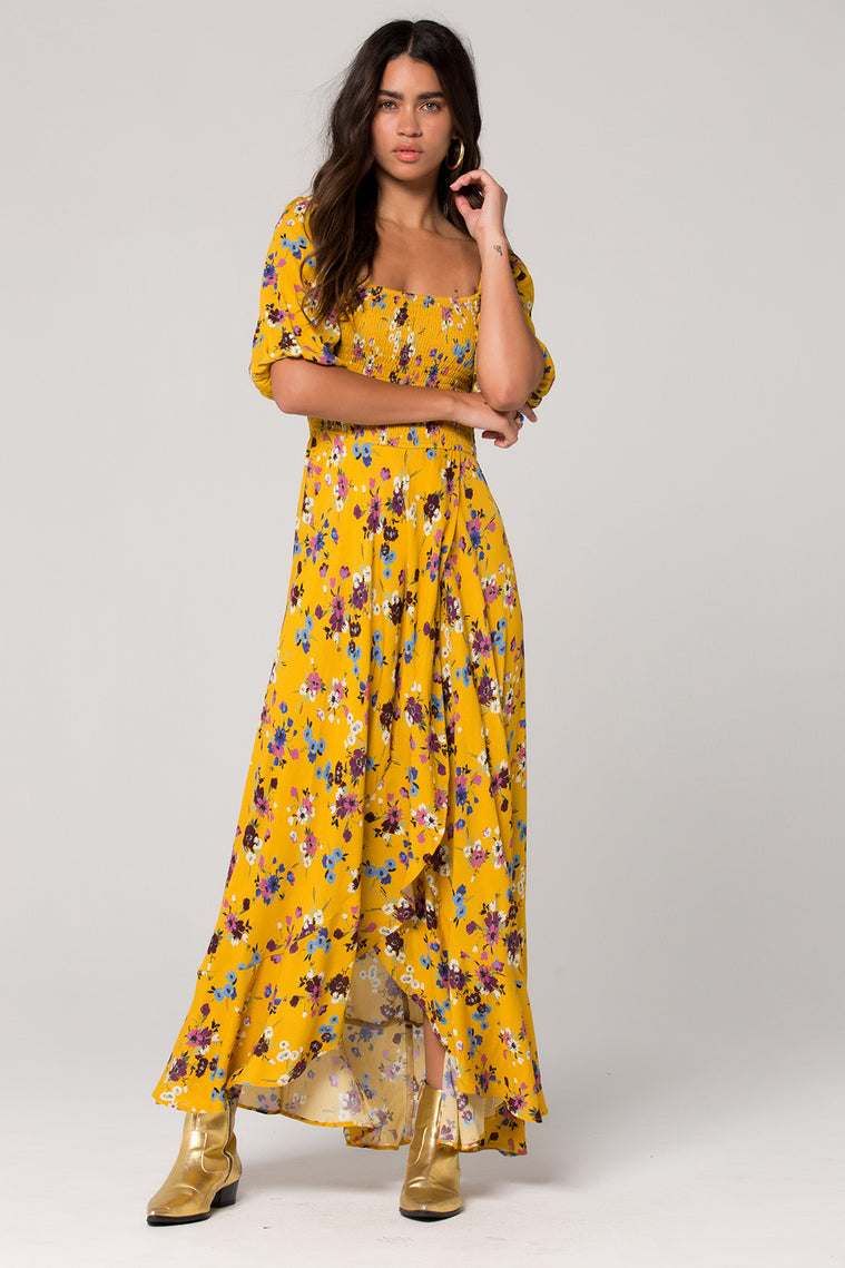 Madrid Mustard Floral Printed Smocked Maxi Dress Master 2