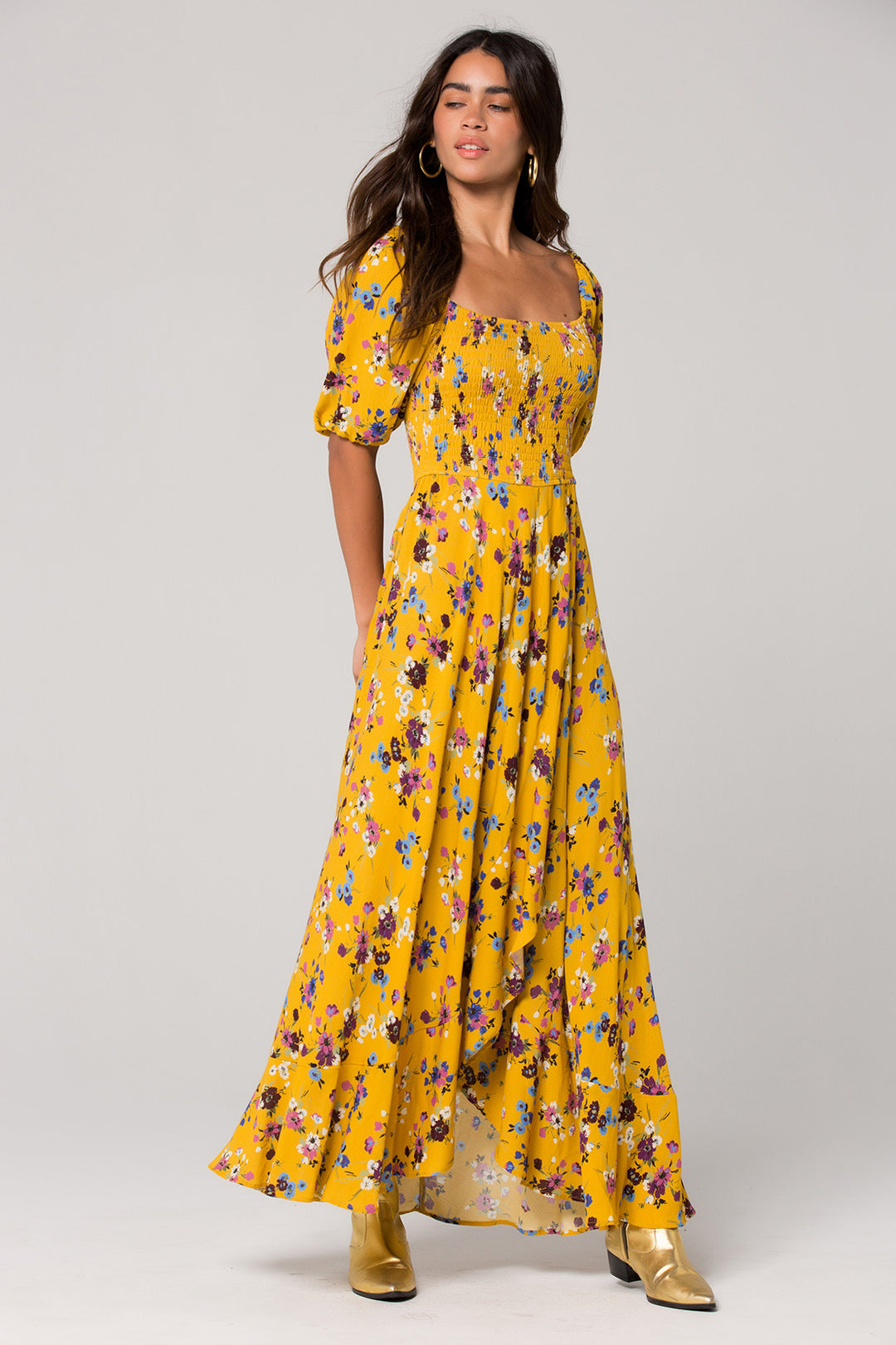 Madrid Mustard Floral Printed Smocked Maxi Dress Master