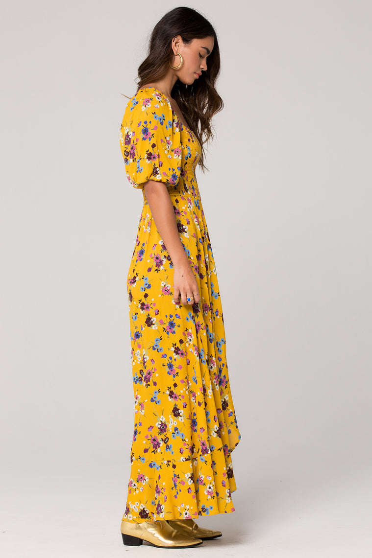 Madrid Mustard Floral Printed Smocked Maxi Dress Side Detail