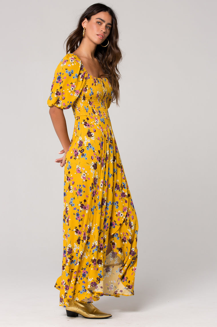 Madrid Mustard Floral Printed Smocked Maxi Dress Side